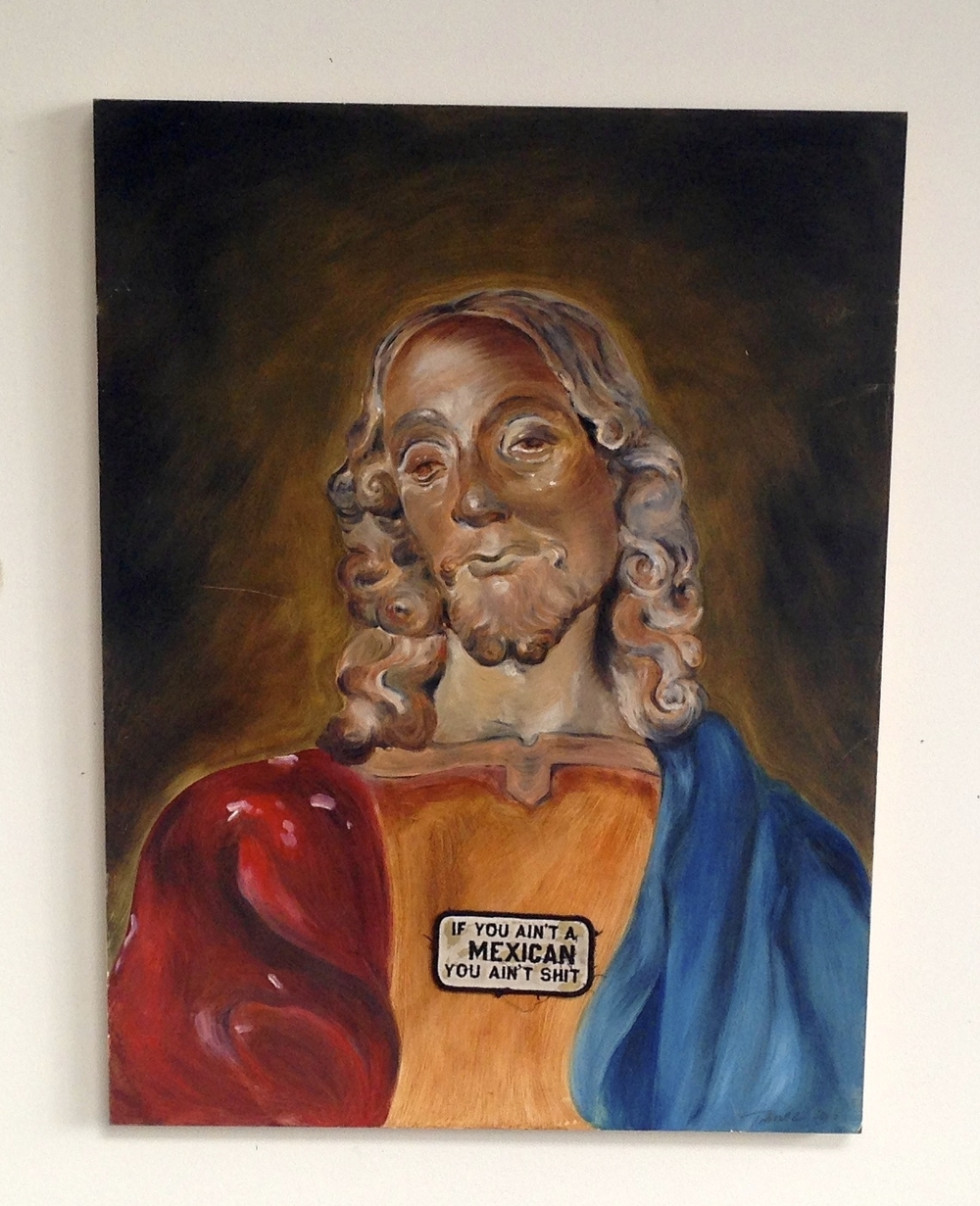 Wood Statue of Jesus in Oil With Actual Patch  18 x 24""