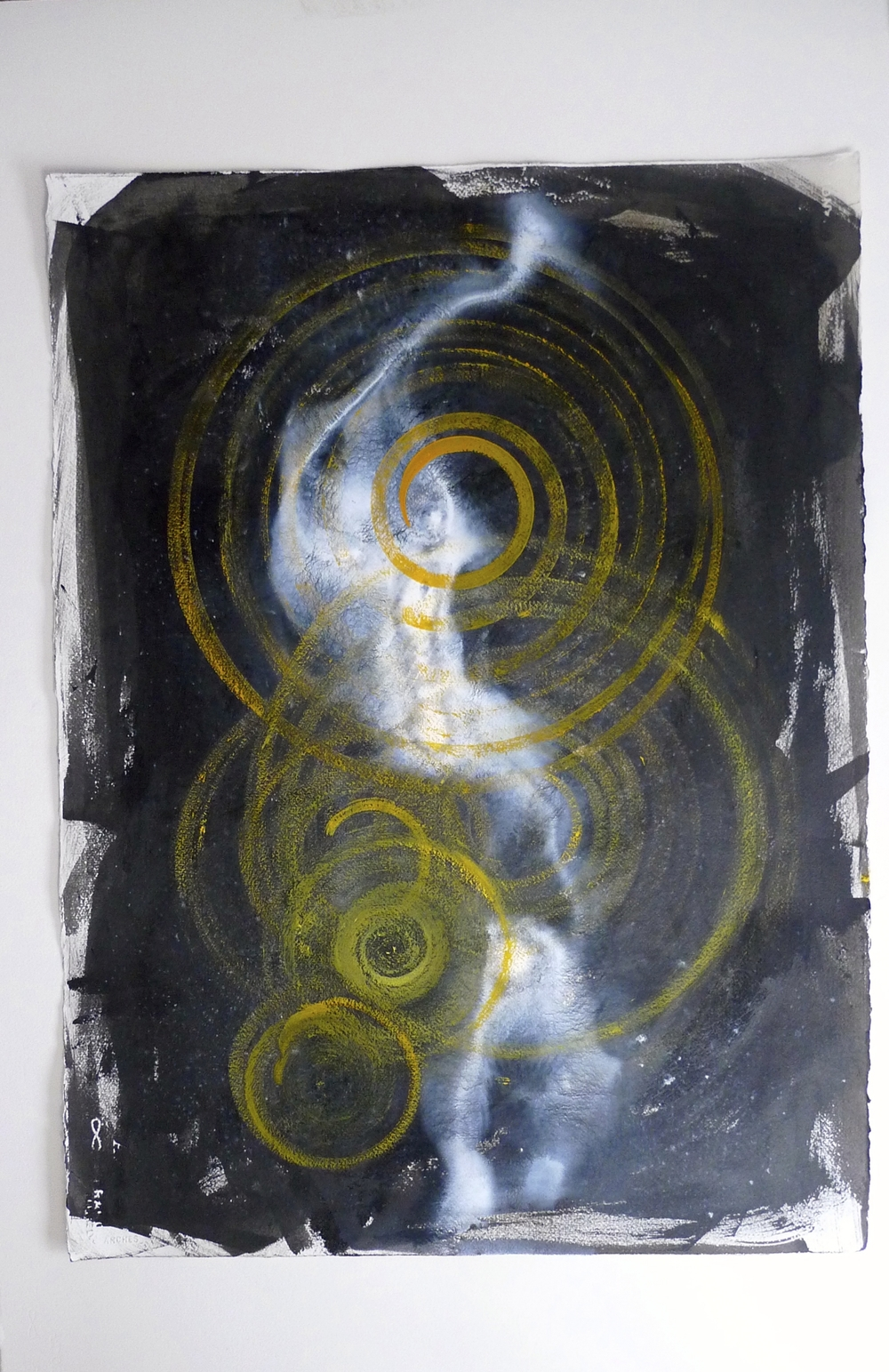 "Ghost  Ink spun on potter's wheel, oil paint, acrylic on paper  22"" x 30"""