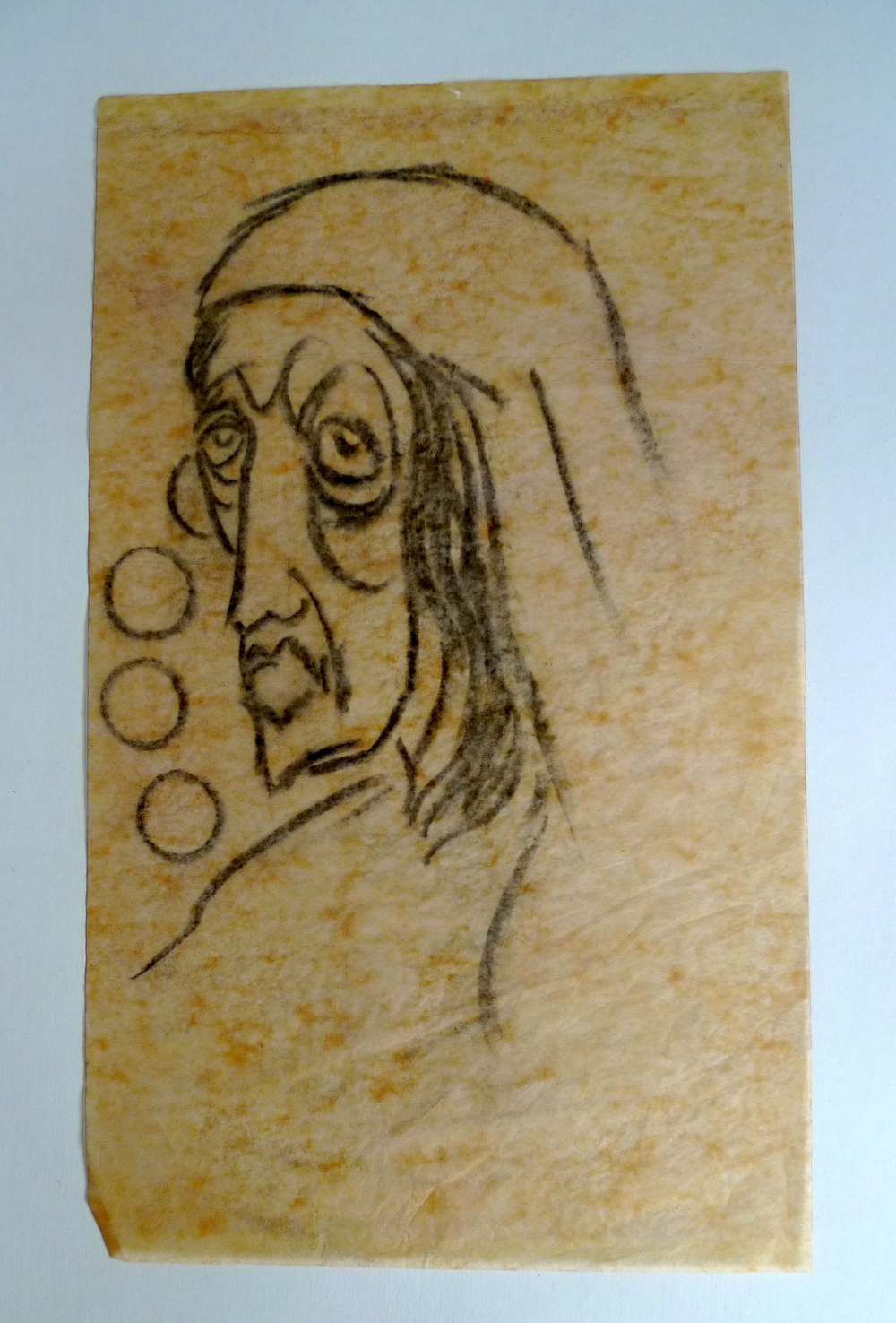 "Old Crone III  Charcoal on Thermofax tissue paper  11"" x 34"""