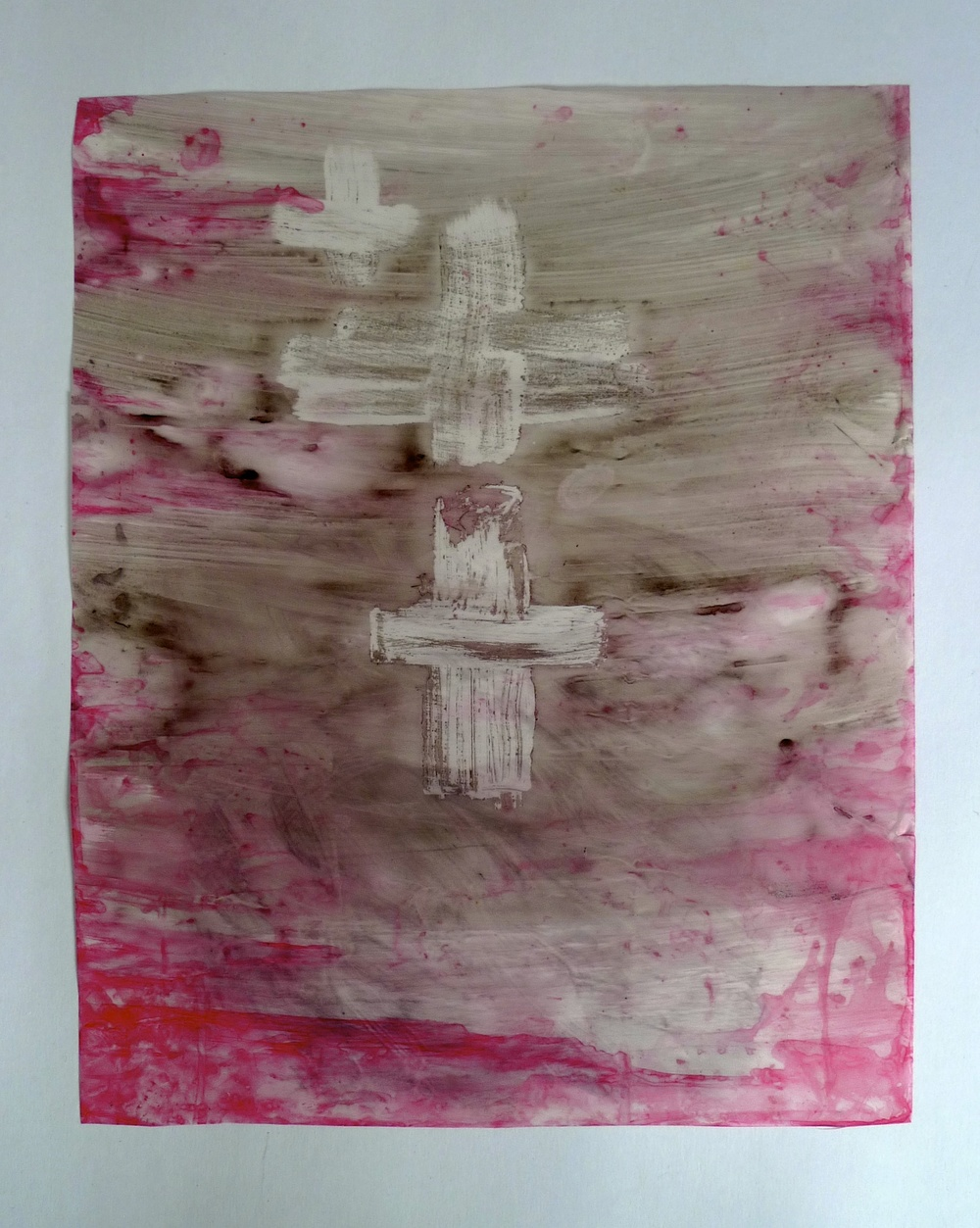 "Three Crosses  Ink on Vellum  13"" x 18.5"""