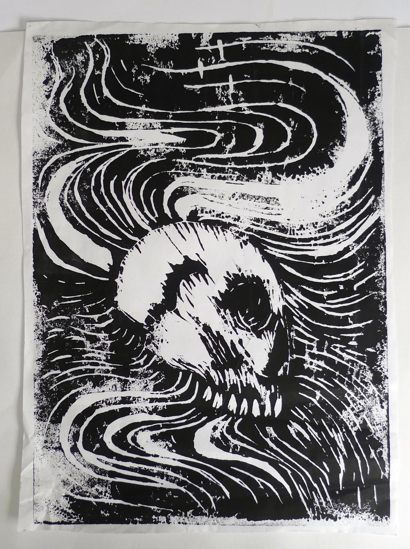 "Black Skull  Linocut  19"" x 26"""