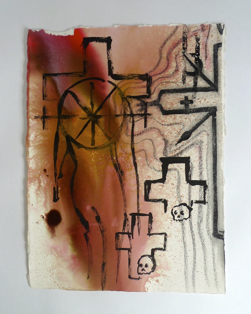"Cross Head - Rust  Ink, various media on paper  16"" x 22"""