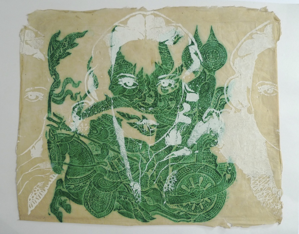 Hand made paper from Thailand  Silk Screen of Women's Face     23 x 19""