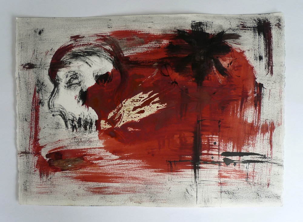 Skull in Red & Black  Ink and paint on paper  18 x 24""