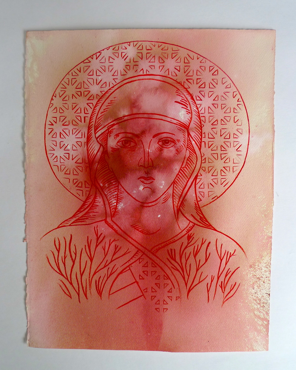 "Saint II  Red Ink on Arches  11"" x 15"""