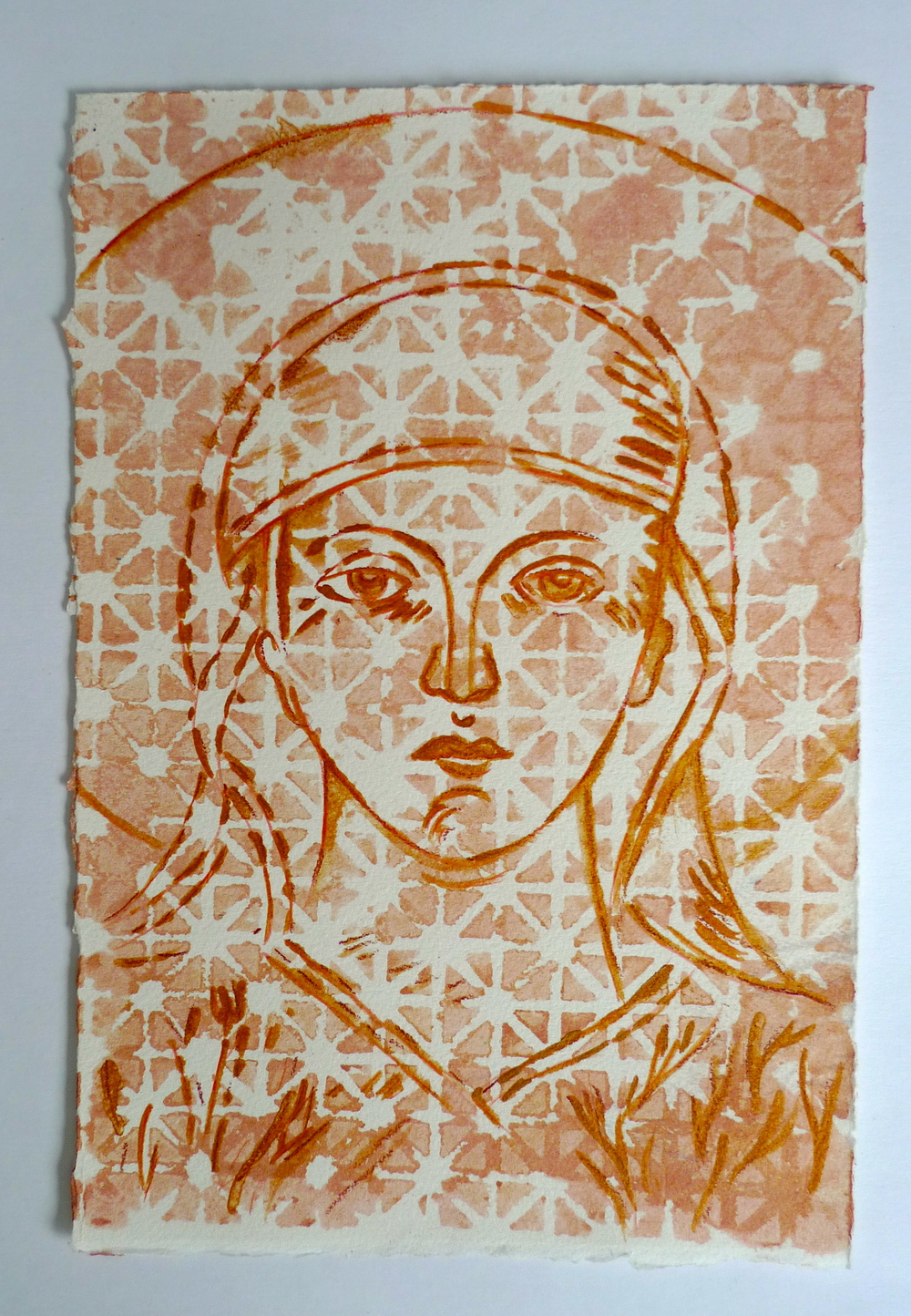 "Saint  Gold ink on Arches  7.5"" x 11"""