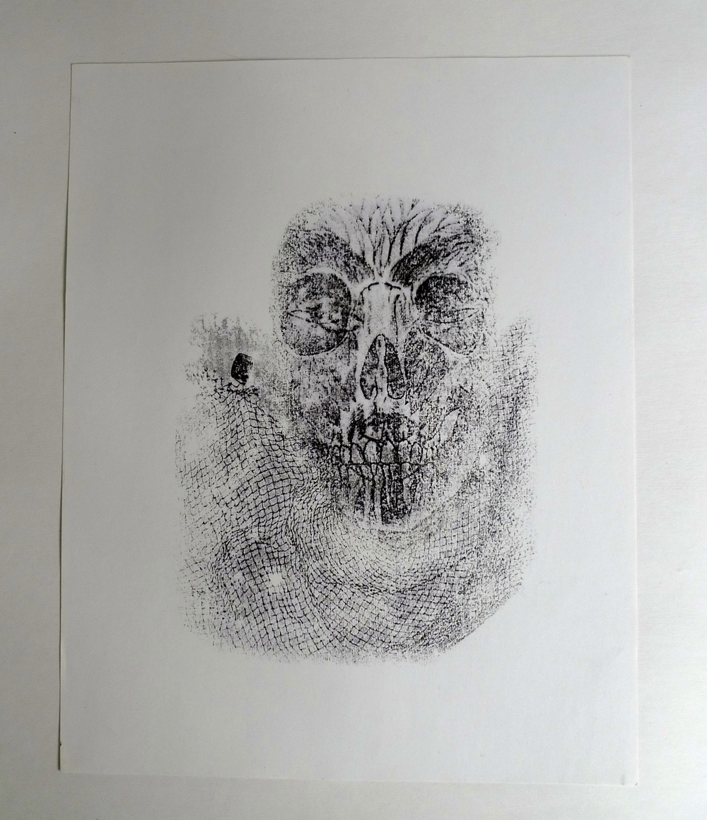 Skull with Net  Acetone transfer on paper  11 x 14""