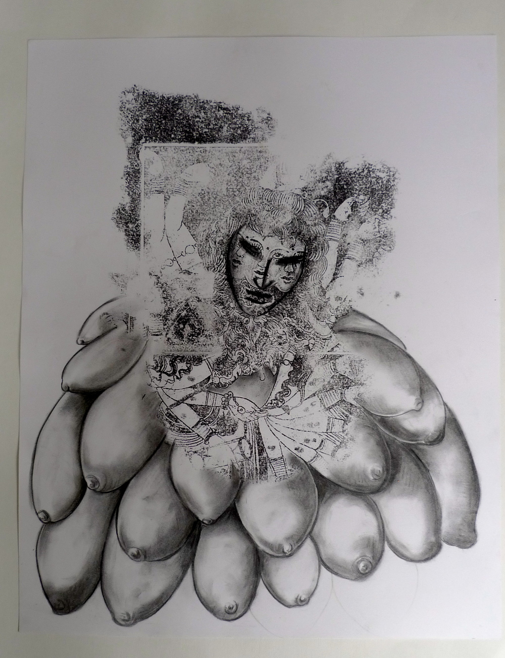 Female Diety  Acetone transfer, pencil, charcoal on paper  19 x 24""