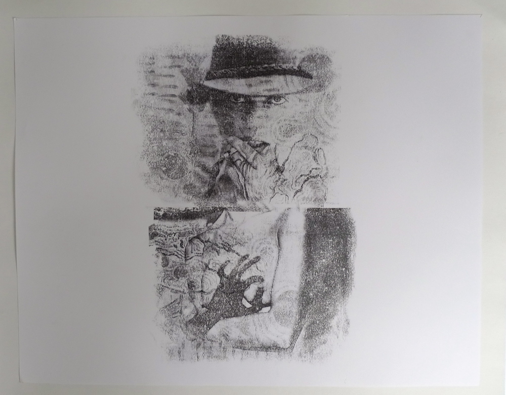 Cowgirl with Pinched Breast  Acetone transfer on paper  19 x 24""
