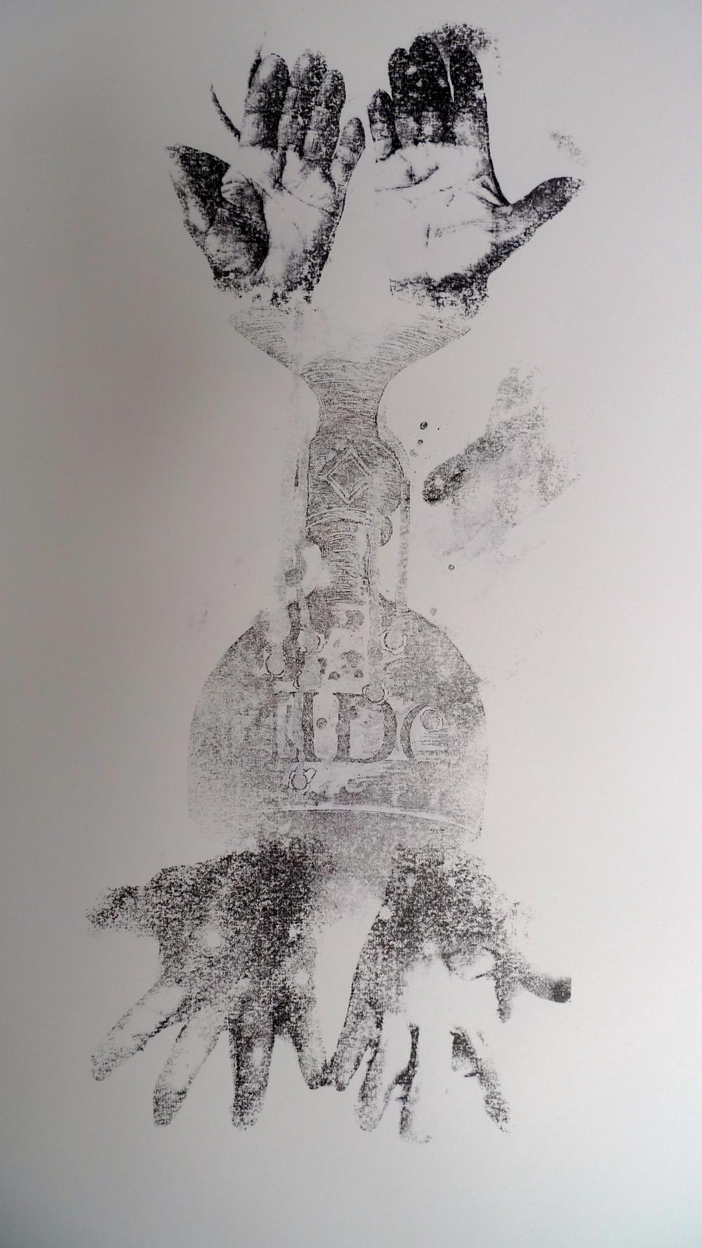 "Nido Chalice - Las Manos  Acetone transfer on paper  19 x 24"""
