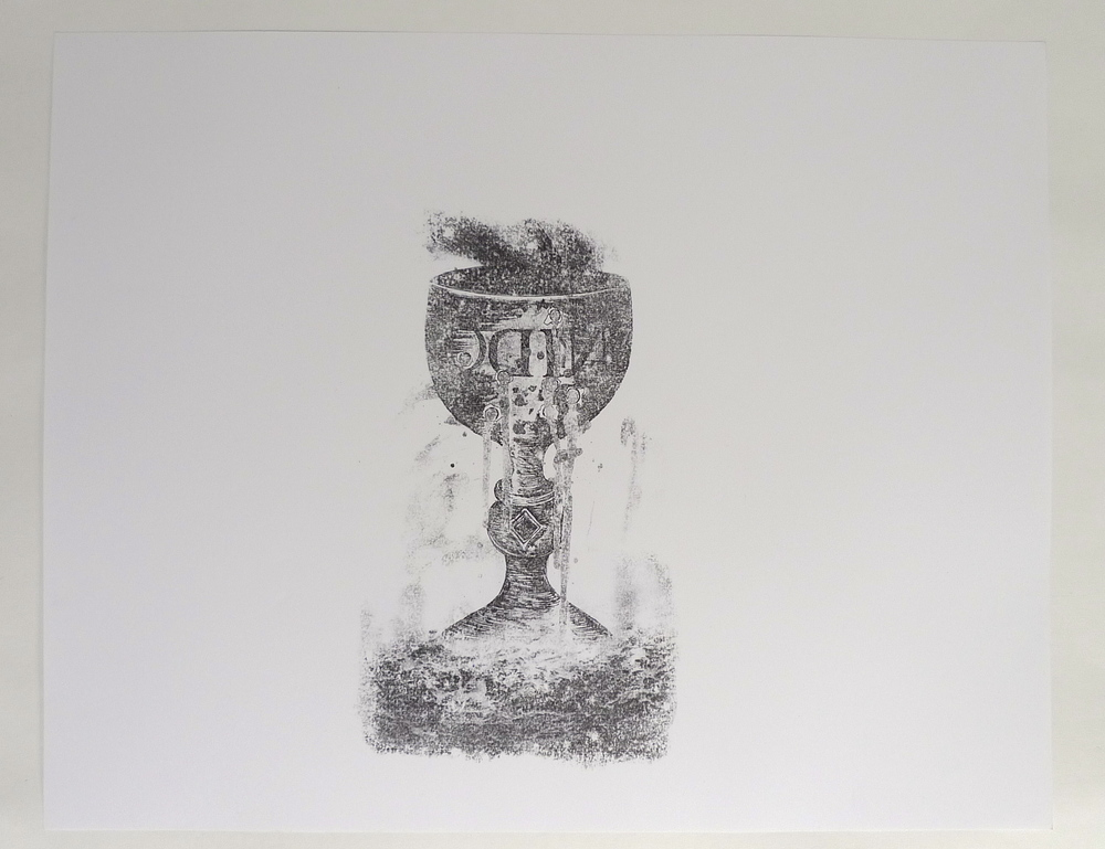 Nido Chalice - Bullets  Acetone transfer on paper  19 x 24""