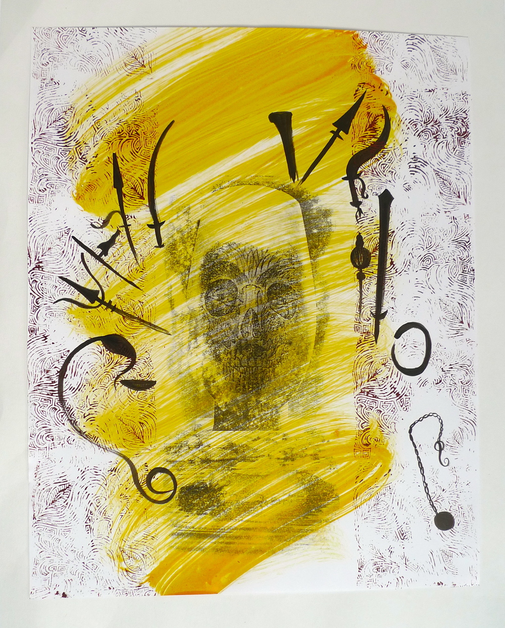 "Symbols & Skull in Yellow  Screenprint, ink on paper  22"" x 30"""