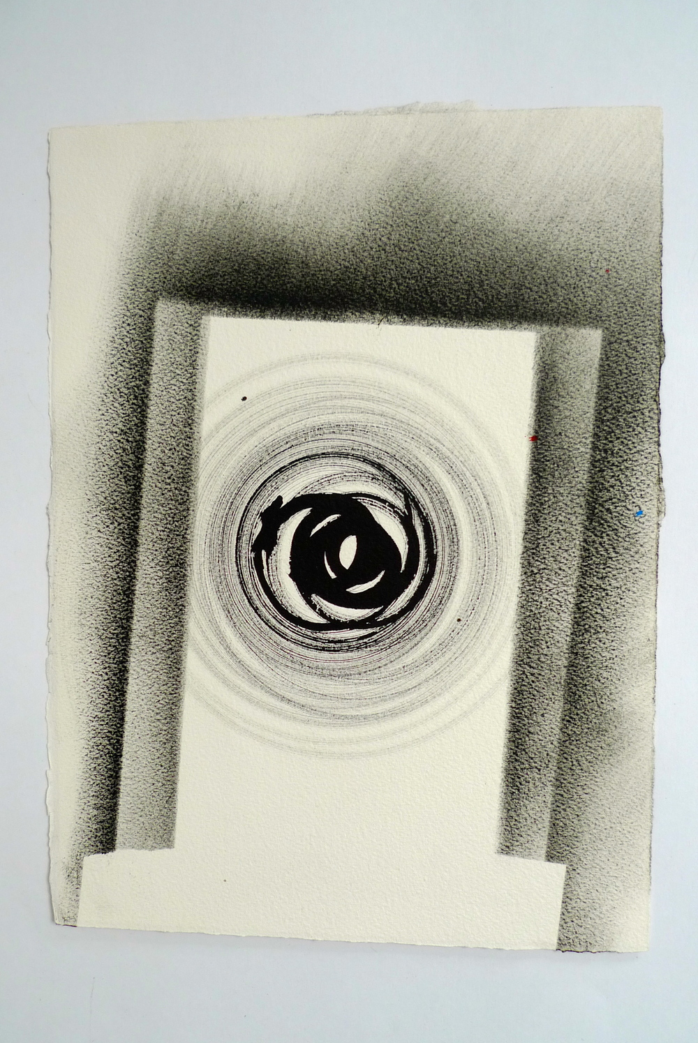 "Tunnel III  Ink spun on potter's wheel, charcoal on Arches  11"" x 15"""