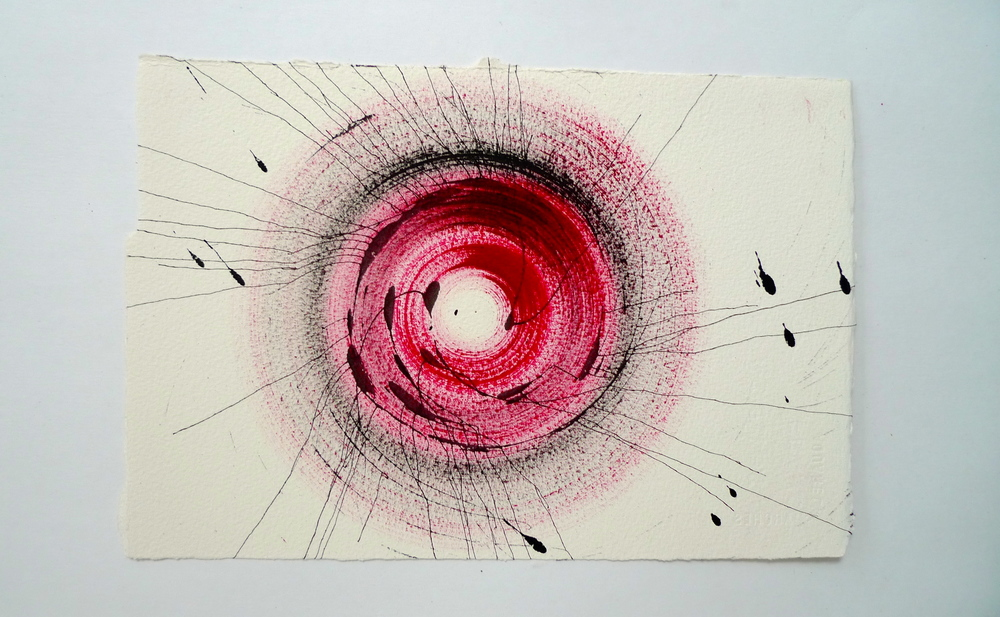 "Tunnel X  Ink spun on potter's wheel, Arches  11"" x 15"""