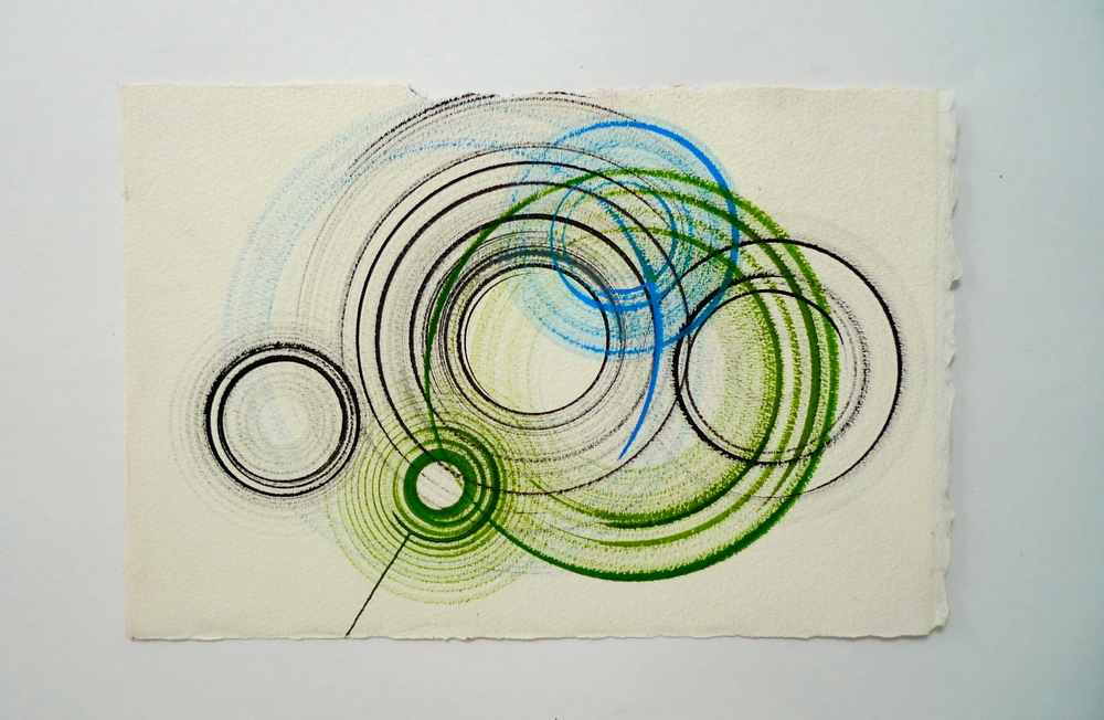 "Tunnel IX  Ink spun on potter's wheel, Arches  11"" x 15"""