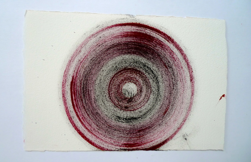 "Tunnel XI  Ink spun on potter's wheel, Arches  11"" x 15"""