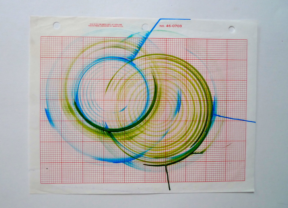 "Tunnel XIV Ink spun on potter's wheel, Graph paper  8.5"" x 11"""