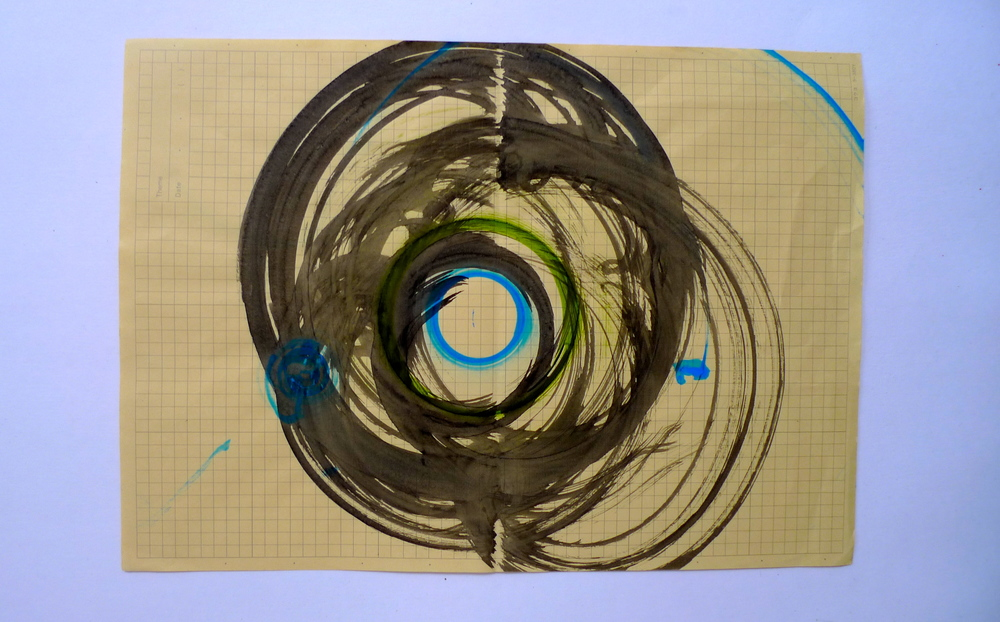 "Tunnel XIII  Ink spun on potter's wheel, Graph paper  11"" x 15"""