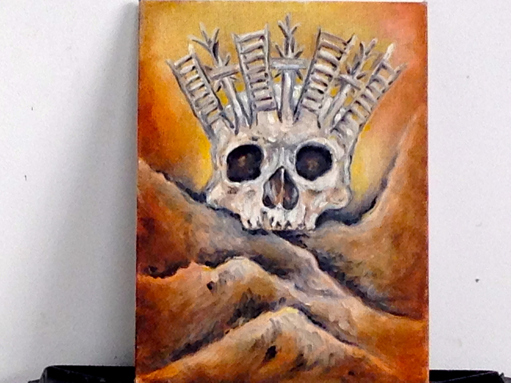 Golgotha  Oil- Canvas Board   9 x 12""