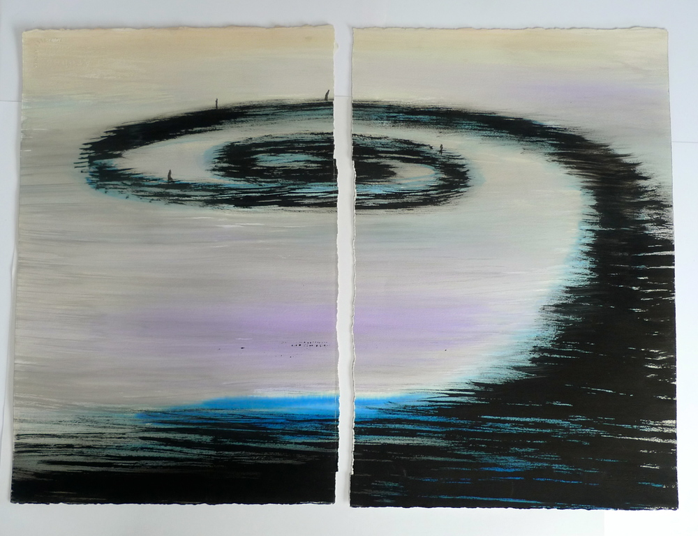 Spiral Jetty  Ink and watercolor on separate sheets  22 x 30