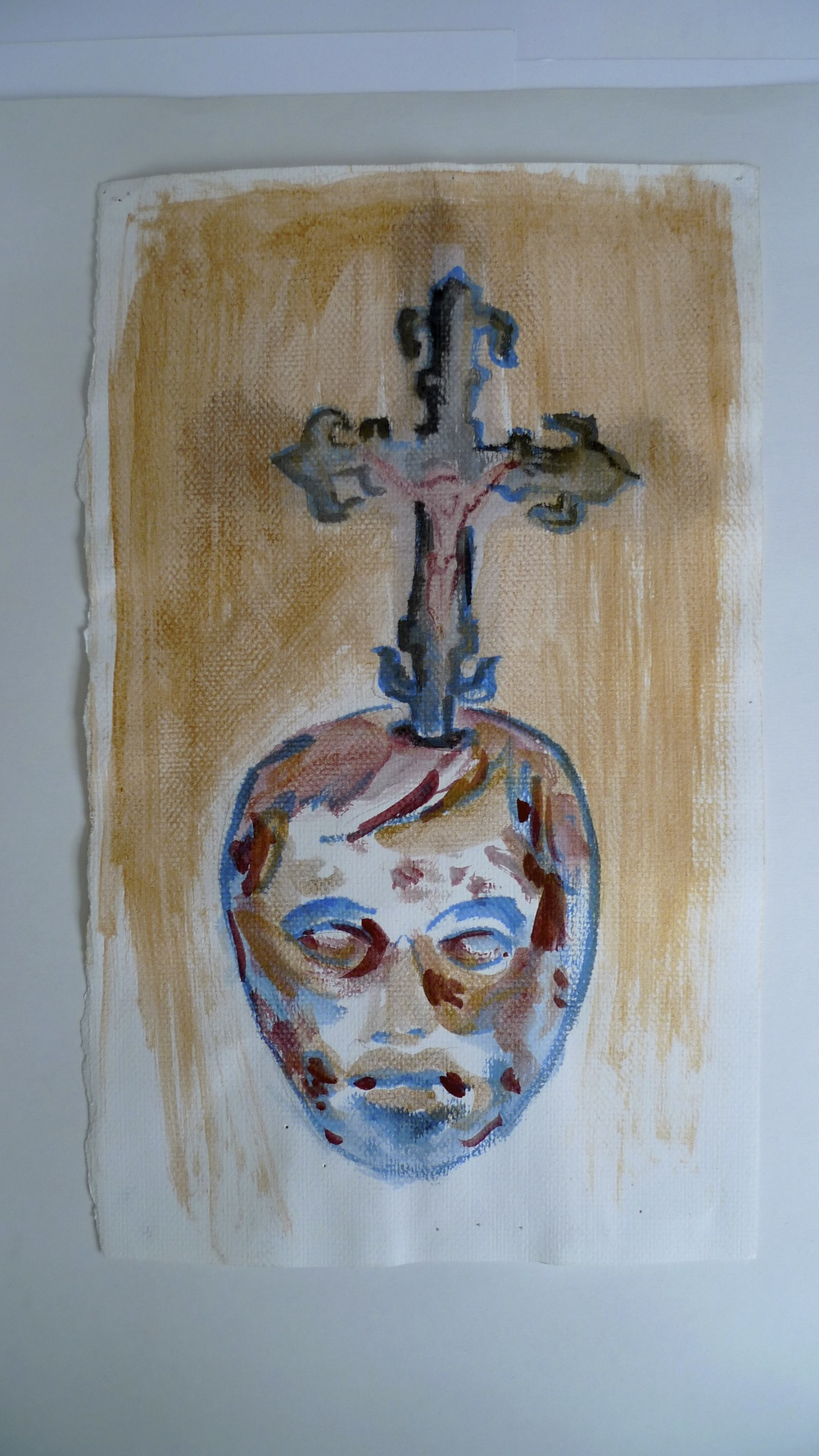 Altar Boy  Ink and paint on canvas  11 x 17