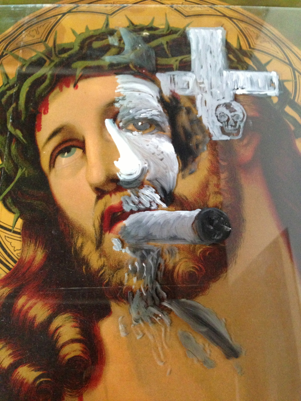 Jesus/Rebel Assemblage - paint on glass overlay 2013