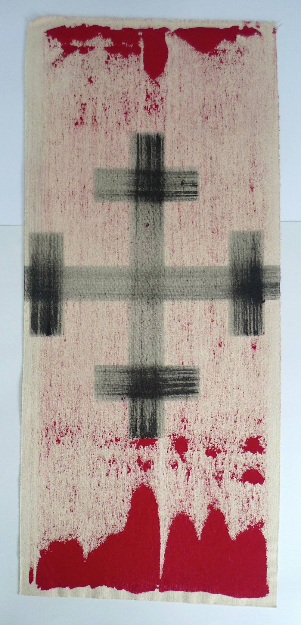 Black Cross  Red ink and acrylic on canvas  14 x 32""