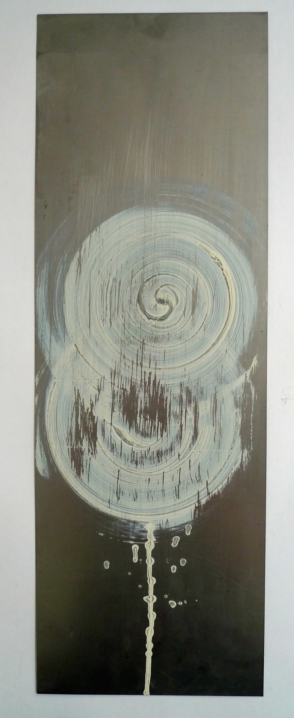 "Tunnel XV  White laytex paint spun onto steel  8"" x 24"""