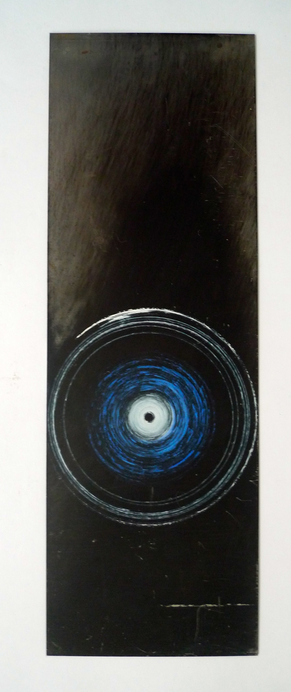 "Tunnel XVII White, black, and blue oil paint spun onto steel  6"" x 18"""