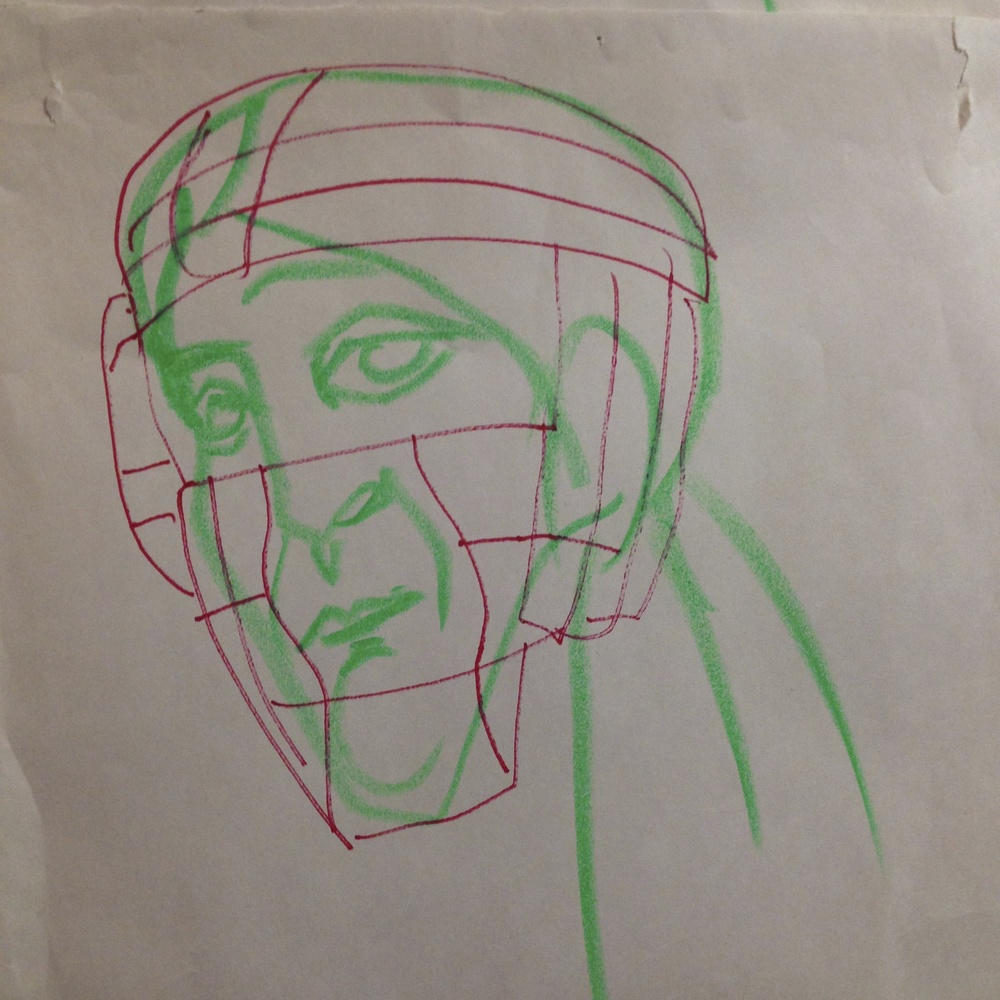 "Catcher 2  Sharpie/colored pencil on Newsprint  14"" x 17"""