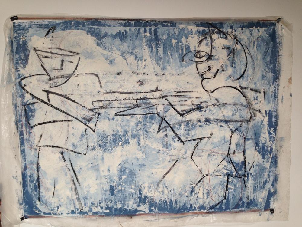 """Blue Figures""  22"" x 30""  Oil on canvas"