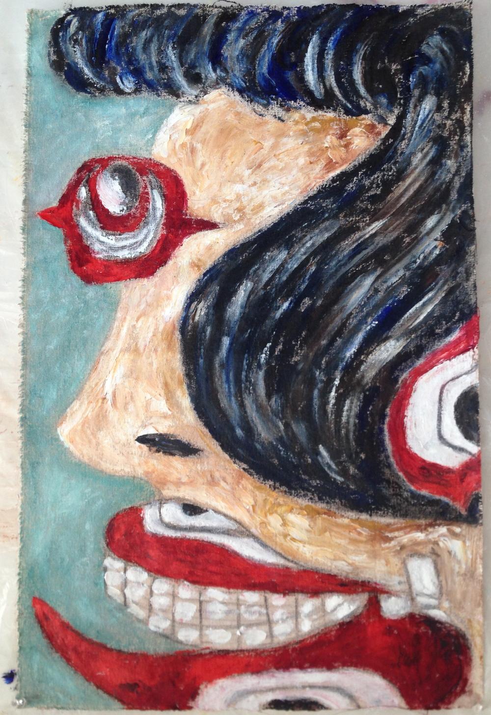 """""""Eyeball Woman""""  17"""" x 26.5""""  Oil on canvas"""
