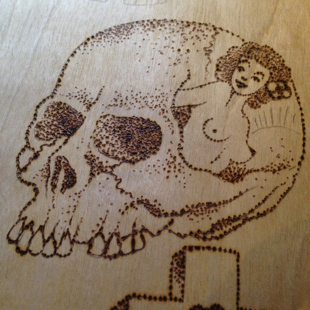 """Peeking Pinup""  Burned wood panel"