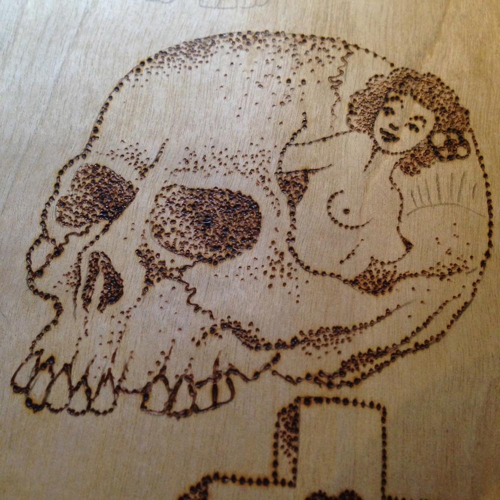 """Peeking Pinup""  Burned wood panel"