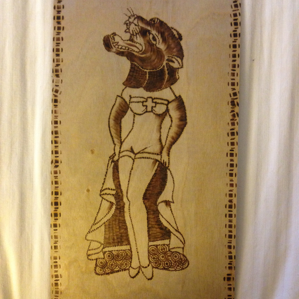 """""""Panther Pinup""""  6"""" x 12""""  Burned birch wood panel  NFS - In the collection of Josh Sachs"""