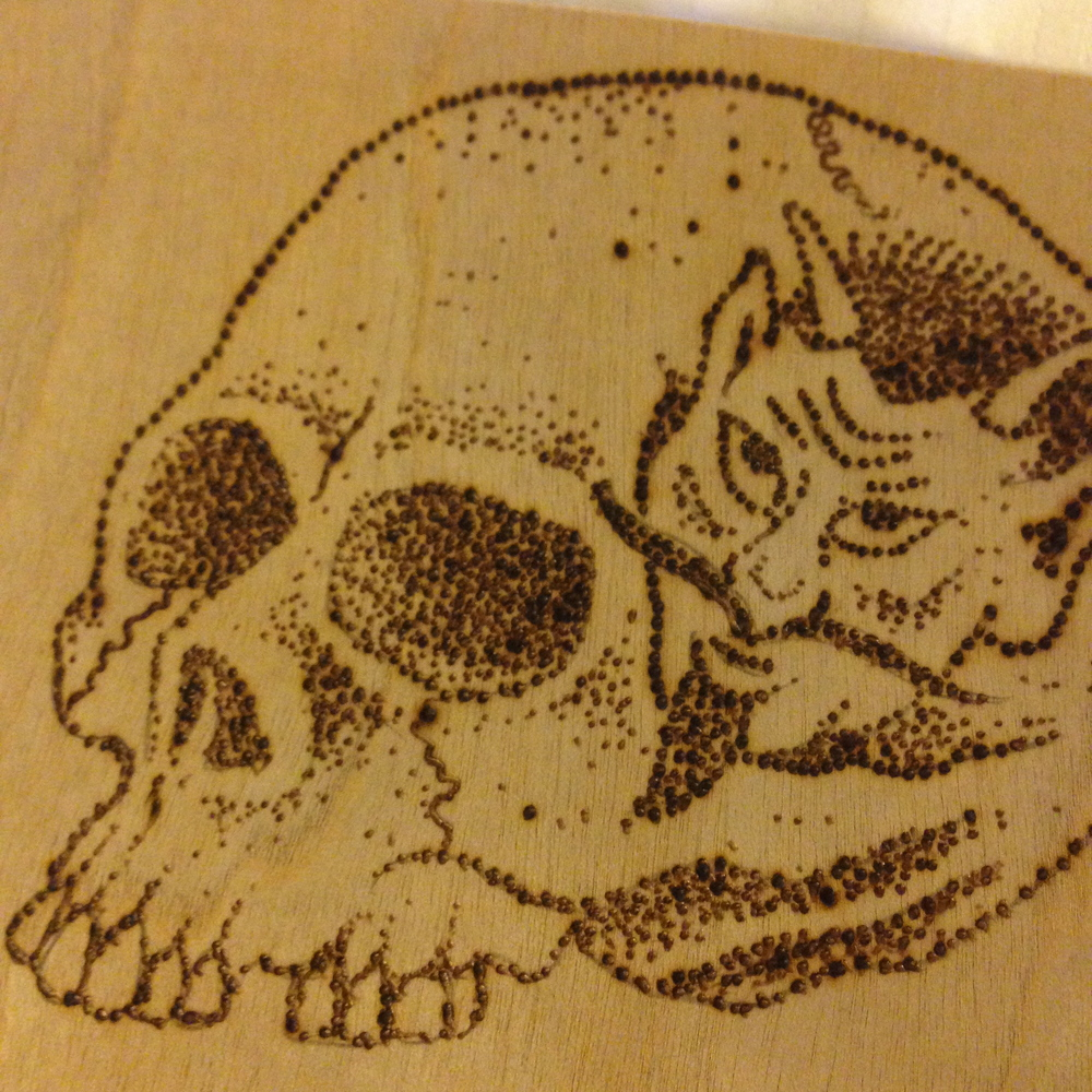 """Devil in the Details""  Burned wood panel"