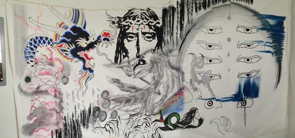 """Dragon Scroll""  4.5' x 9.5'  Mixed media on canvas"