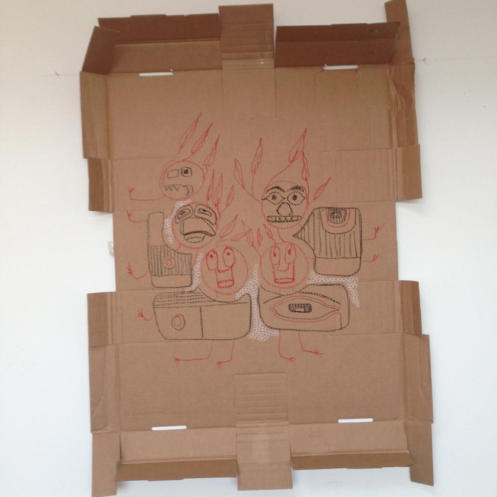 """Imps""  Pastel on cardboard  21.2"" x 22.8"""
