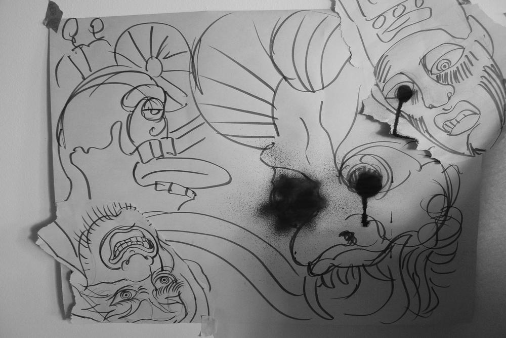 """Yokai""  11"" x 17""  Spray paint, marker, collage on paper"