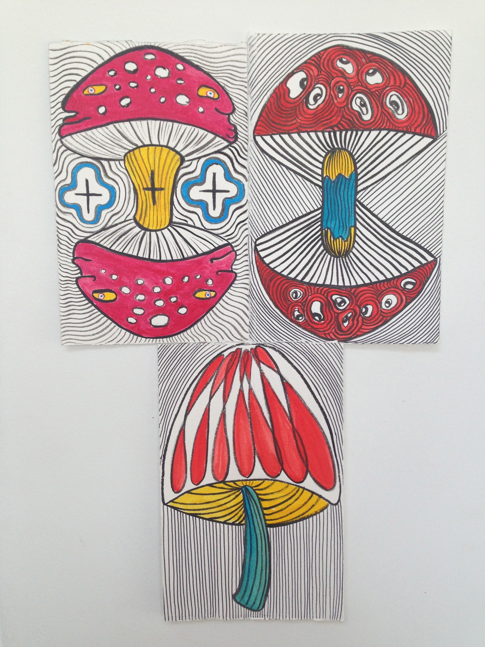 """Shrooms""  7.5"" x 11""  Ink and watercolor on paper  NFS - In the collection of Will Sheldon & Taylor Trabulus"