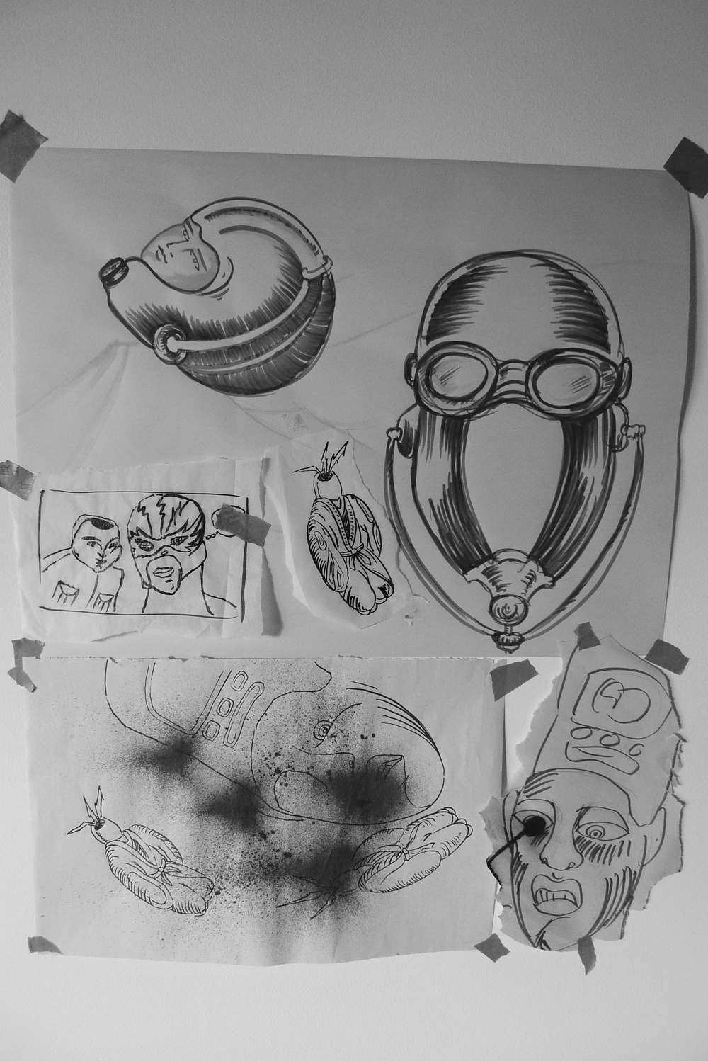 """Gas Mask Assemblage""  Various sizes  Ink on Paper"