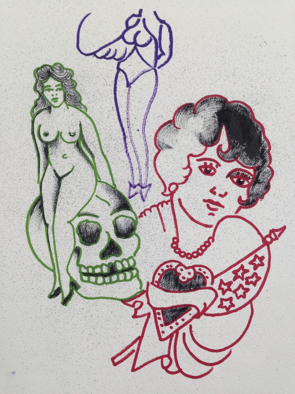 """""""Three Women""""  14"""" x 9""""  Talons Ink tattooed on Arches Paper with Sharpie marker 2015"""