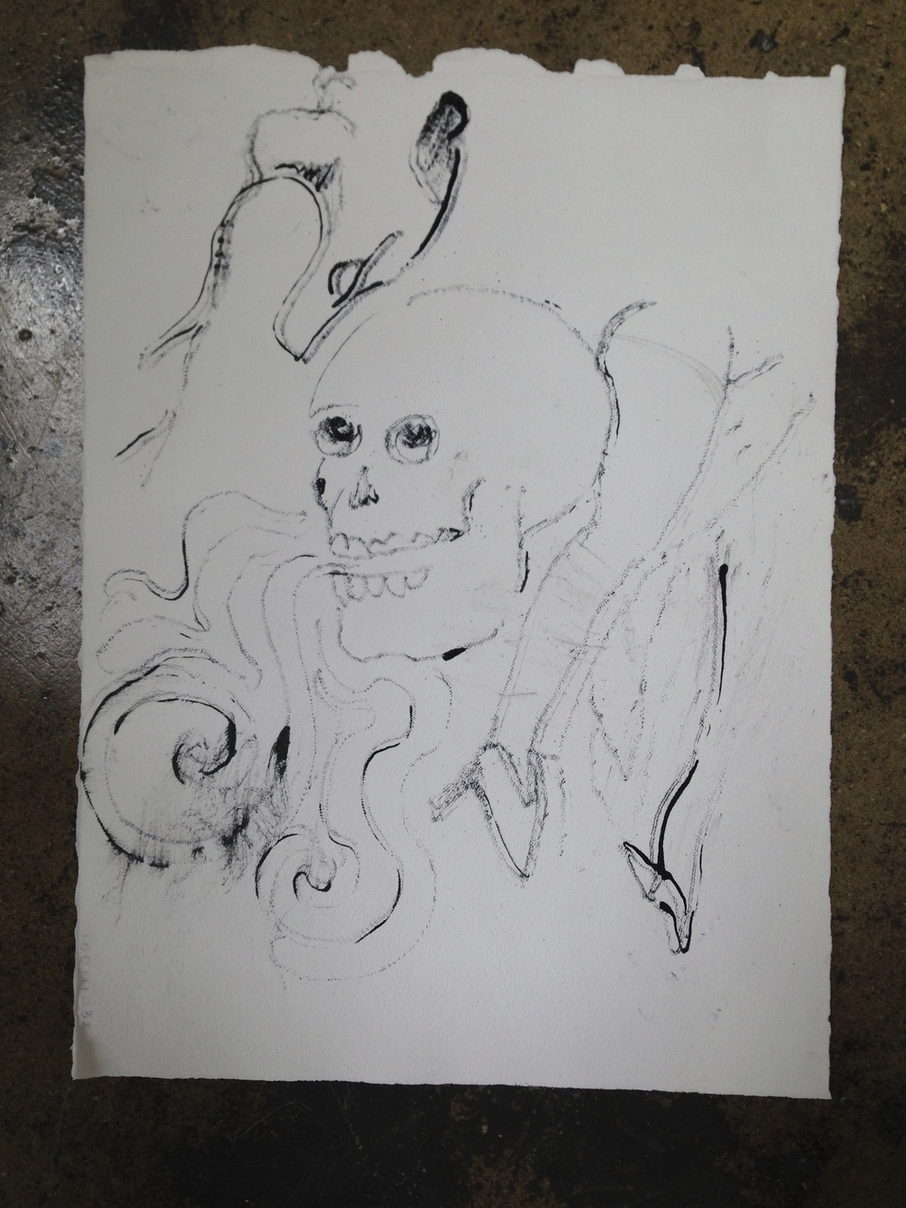 """""""Skull Ghost""""  11"""" x 15""""  Ink on paper"""