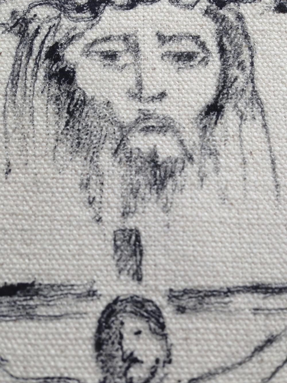 """Jesus""  6"" x 17""  Ink on raw canvas"