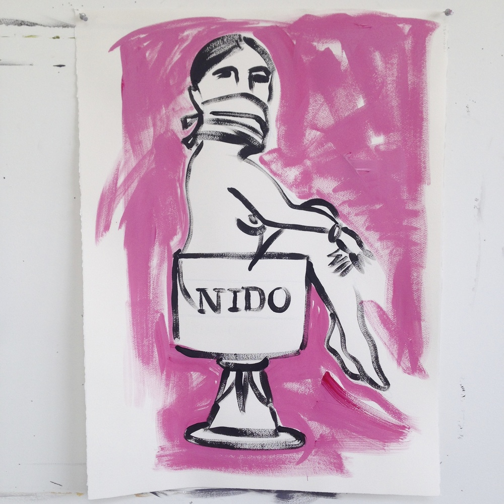 """Zapatista""  22"" x 30""  Acrylic on paper"
