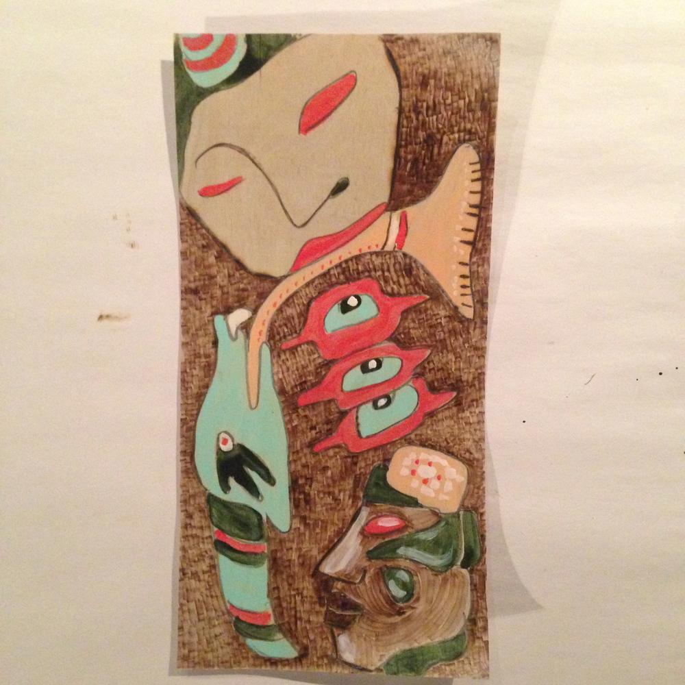 """""""Abstract Faces""""  6"""" x 12""""  Nail polish on wood burning"""