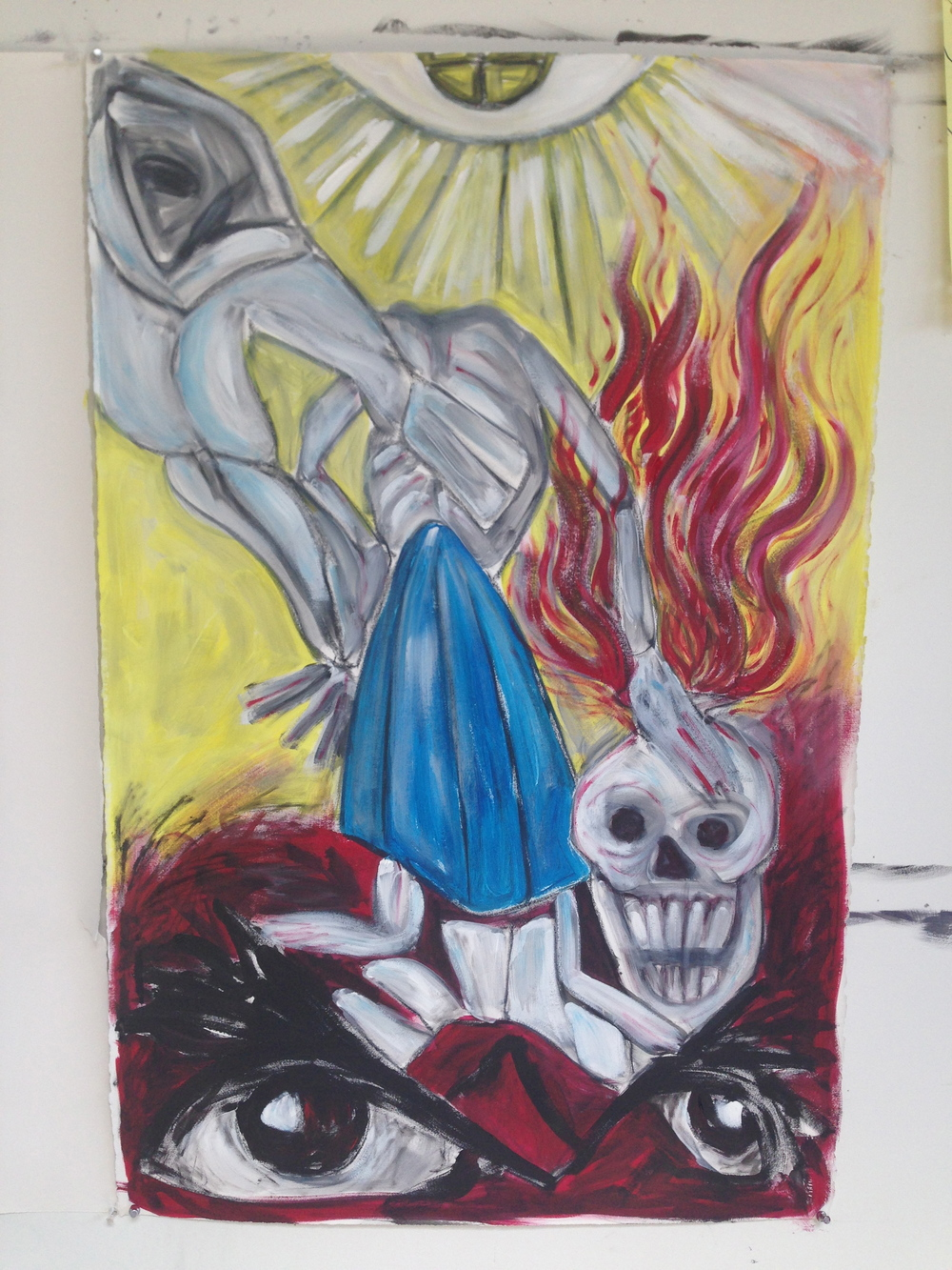 """Skull, Figure, Horse""  26"" x 40""  Oil on canvas"