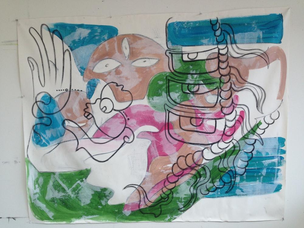 """Dragon""  47"" x 60""  Oil on canvas"