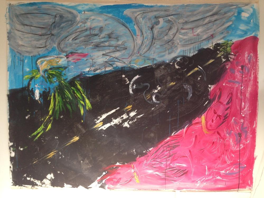 """Eagle, Devil, Road""  63"" x 81""  Oil on canvas"