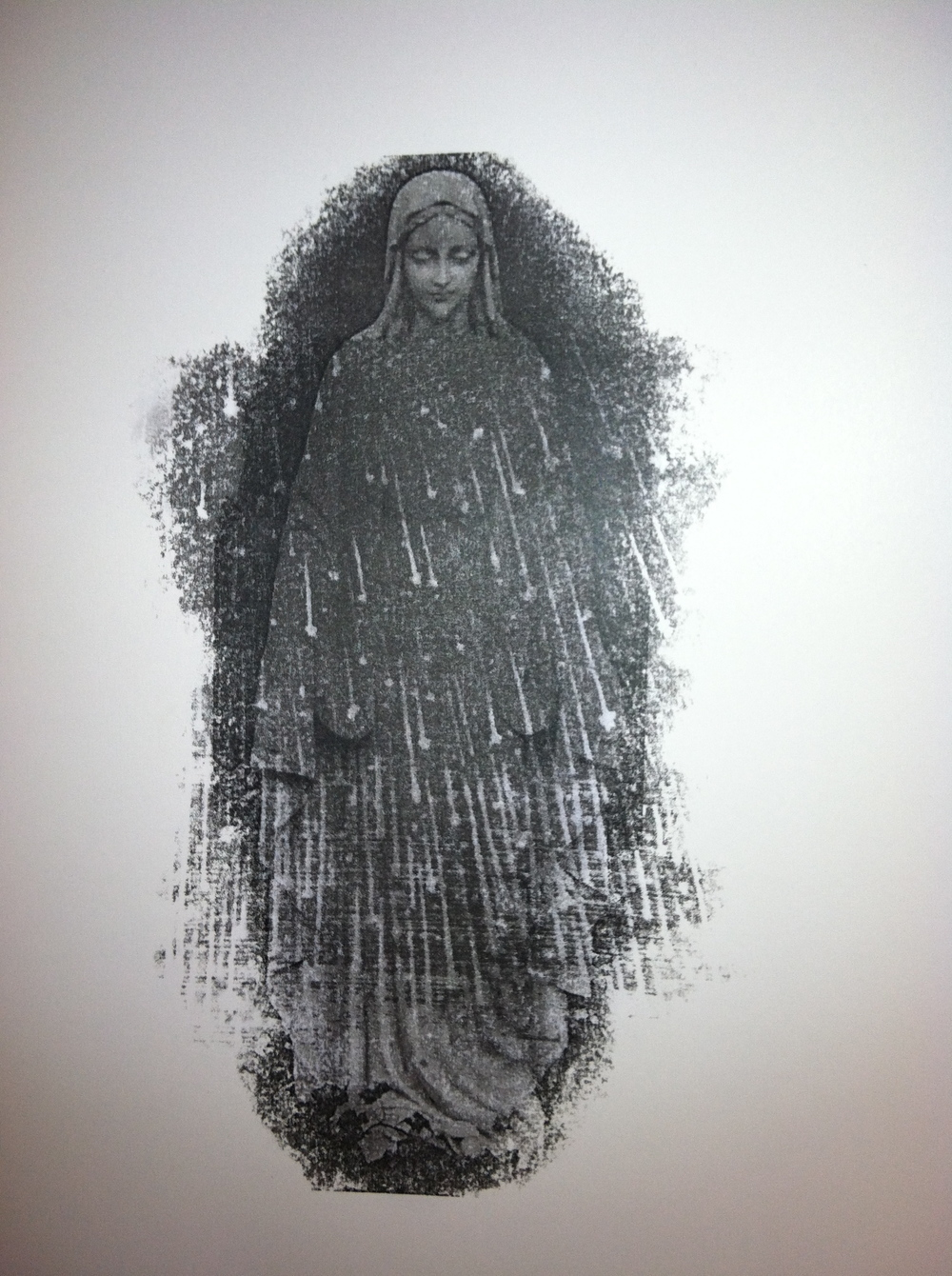 "Our Lady of the Heavens  Photo-transfer on paper  24"" x 19"""